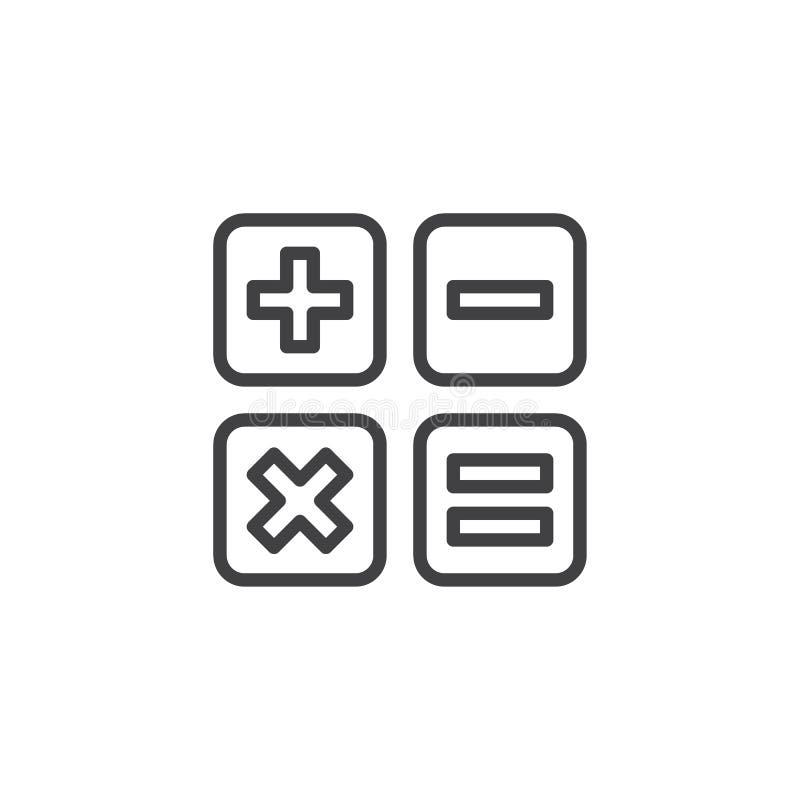 De calculator knoopt lijnpictogram dicht vector illustratie