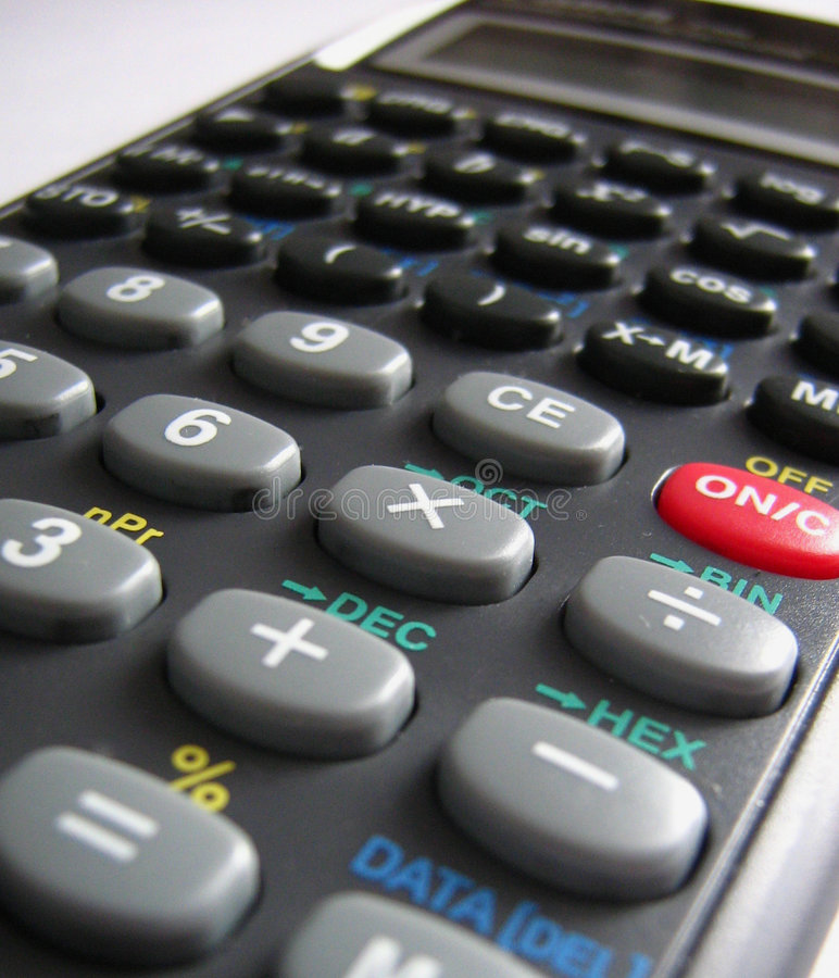 De calculator van de school stock afbeelding