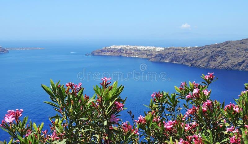 De calderamening van Santorini stock afbeeldingen