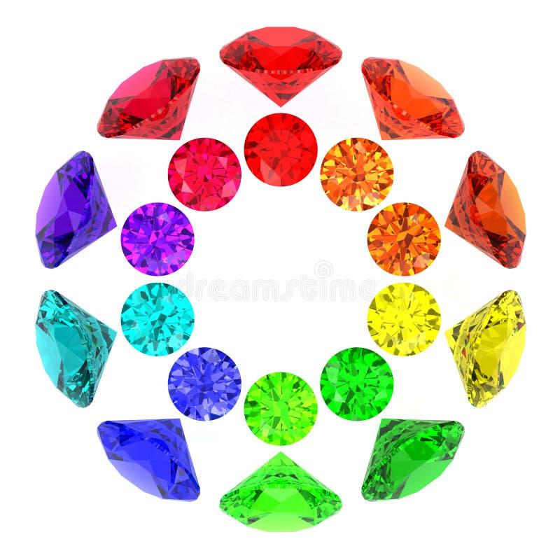 De caleidoscoop van halfedelstenen van regenboogkleuren stock illustratie