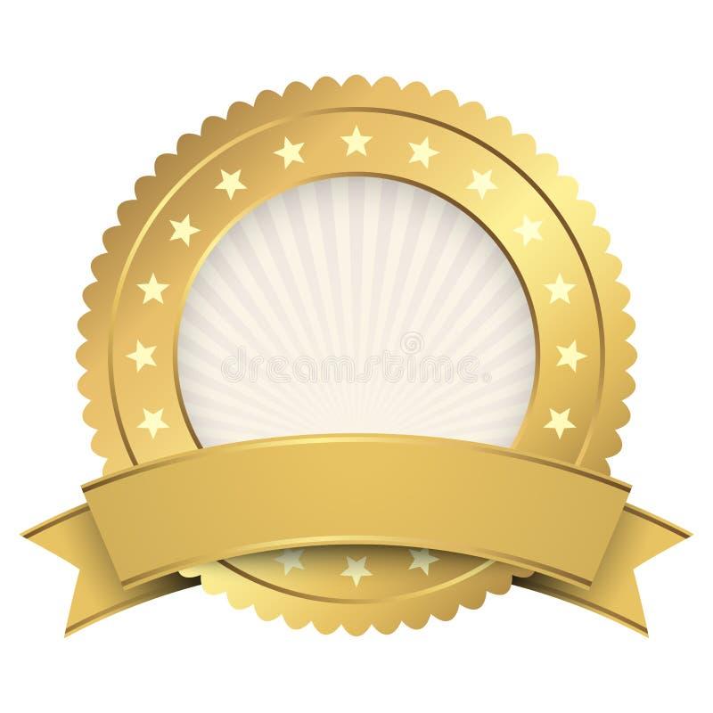 Or de calibre de bouton avec la bannière d'or illustration stock