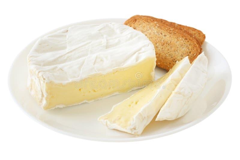 De camembert van de kaas met toosts stock afbeelding