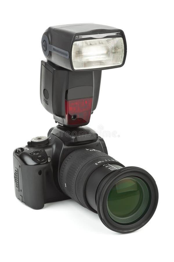 De camera en de flits van de foto royalty-vrije stock foto