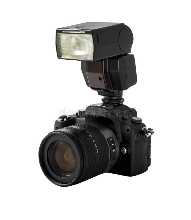 De camera en de flits van de foto stock afbeeldingen
