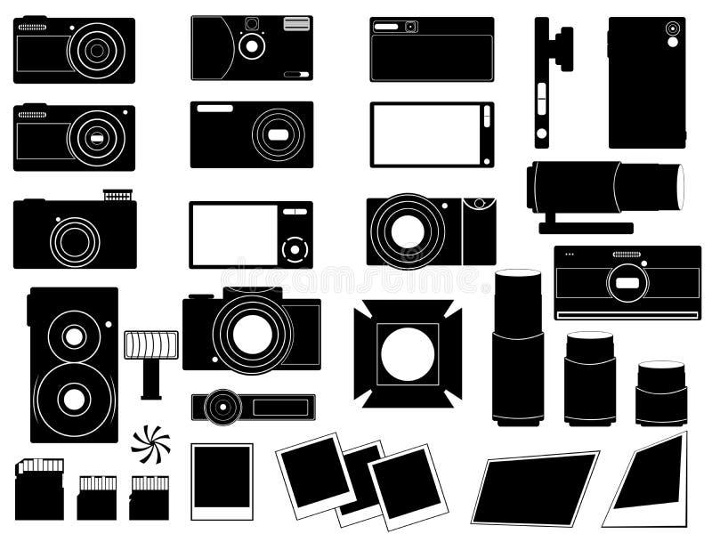 De camera's en het materiaal van de foto voor fotografie vector illustratie