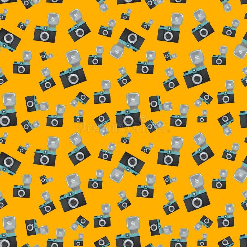 De camera van de Lomographyfilm op oranje achtergrond royalty-vrije illustratie