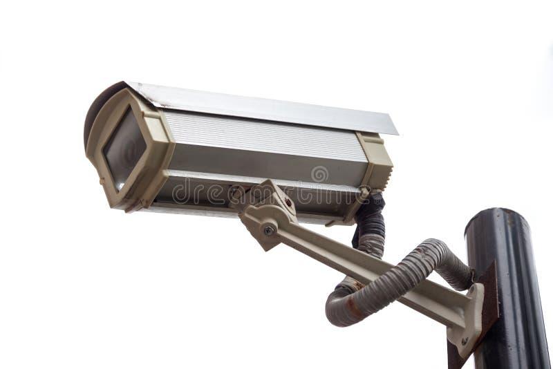 De camera van het toezicht die op wit wordt geïsoleerdd royalty-vrije stock afbeelding