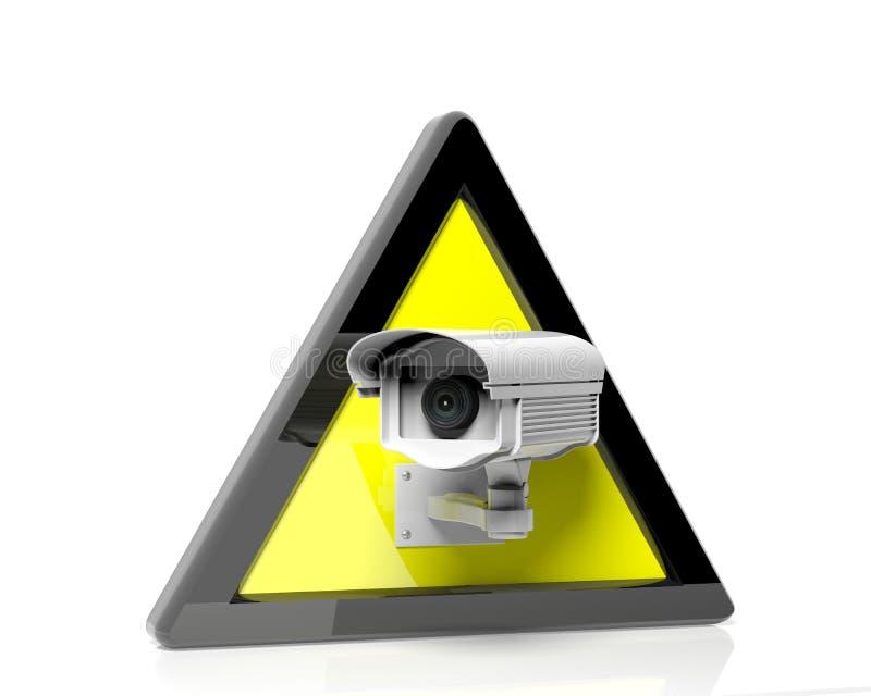De camera van het veiligheidstoezicht in een gele waarschuwing vector illustratie