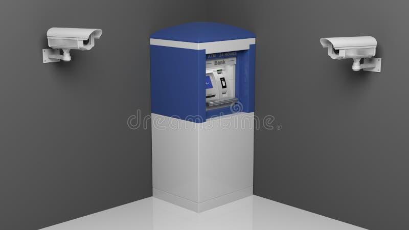 De camera van het veiligheidstoezicht en ATM stock illustratie