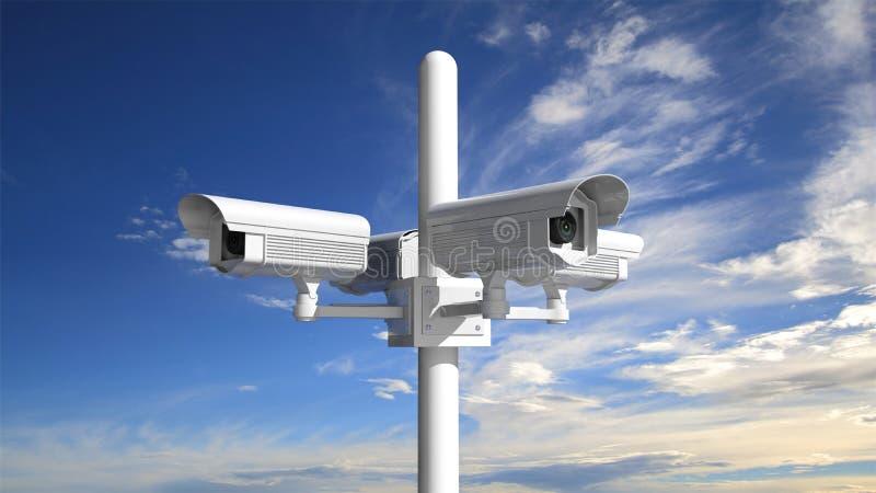 De camera van het veiligheidstoezicht met blauwe hemel royalty-vrije illustratie