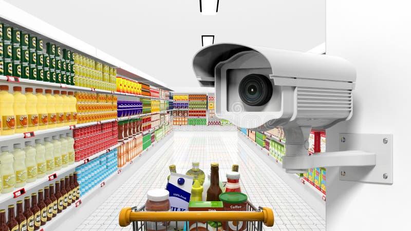 De camera van het veiligheidstoezicht met supermarkt royalty-vrije illustratie