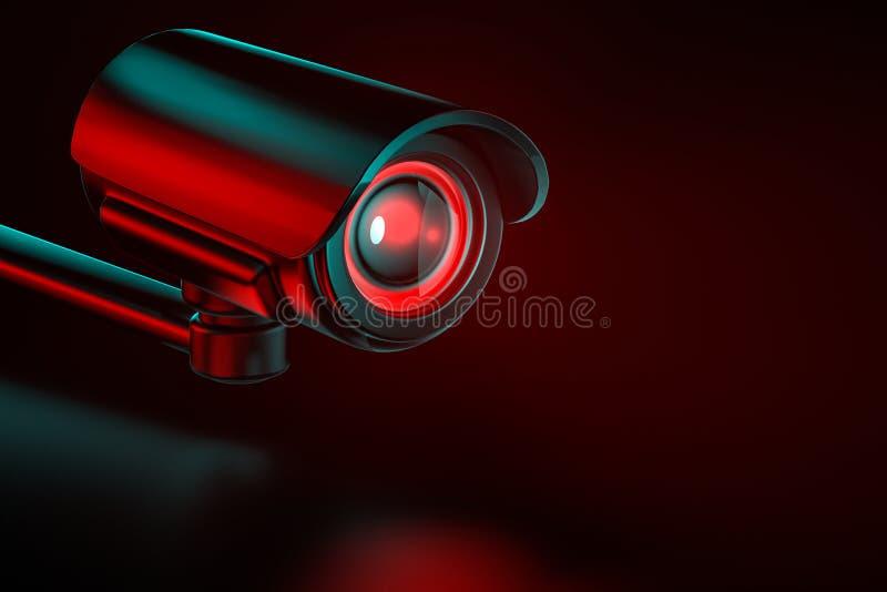 De camera van het veiligheidstoezicht op een gelijke achtergrond het 3d teruggeven stock illustratie