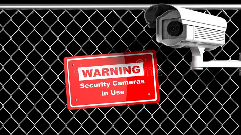 De camera van het veiligheidstoezicht op ketting-verbinding omheining stock illustratie