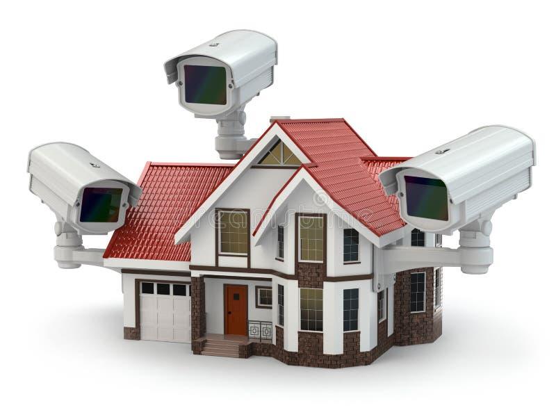 De camera van veiligheidskabeltelevisie op het huis. vector illustratie