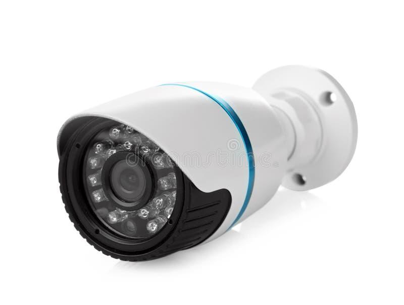 De camera van veiligheidskabeltelevisie, op wit wordt geïsoleerd dat stock foto
