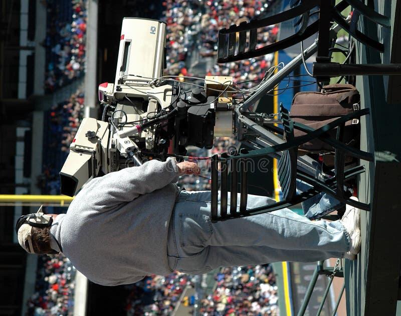 De Cameraman van de televisie royalty-vrije stock afbeeldingen