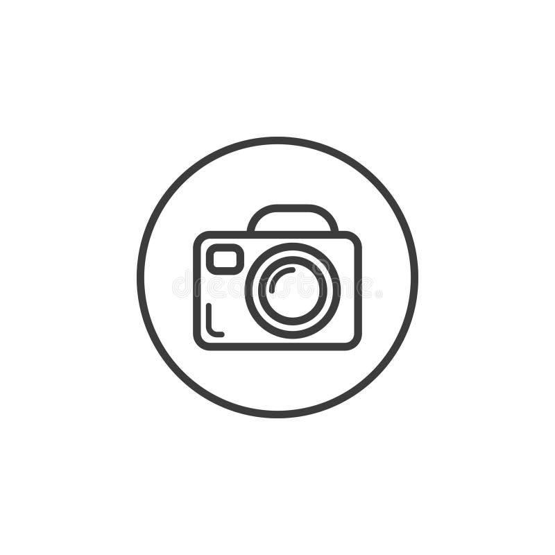 De camerapictogram van de lijnkunst in het ronde kader stock illustratie