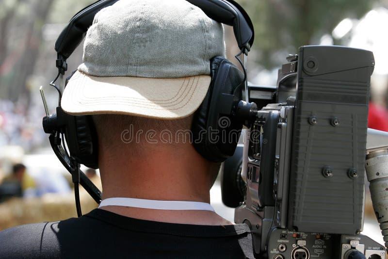 De cameraploeg van TV stock afbeeldingen