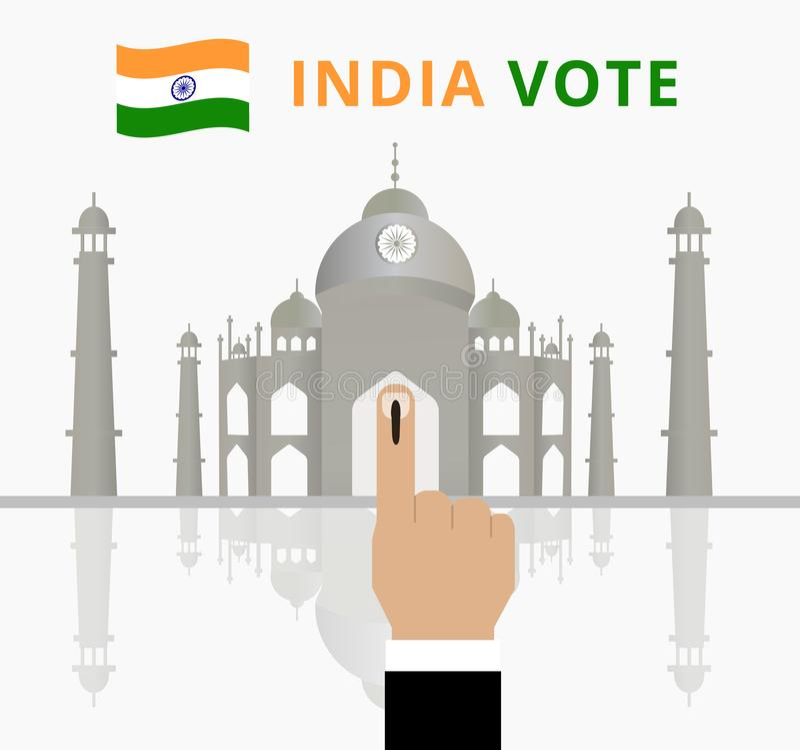 De campagne van de de verkiezingsdag van India voor Indische die mensen of kiezer op de vinger aan duidelijk worden geïnkt of ste royalty-vrije illustratie
