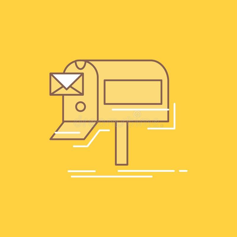 de campagnes, e-mail, marketing, bulletin, posten Vlak Lijn Gevuld Pictogram Mooie Embleemknoop over gele achtergrond voor UI en  vector illustratie