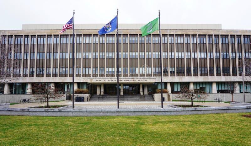 De campus van de Universiteit van de Staat van Michigan stock afbeelding