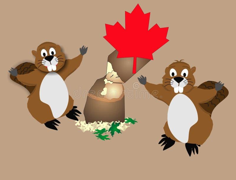De Canadese hefbomen van het Timmerhout. de bever stock illustratie