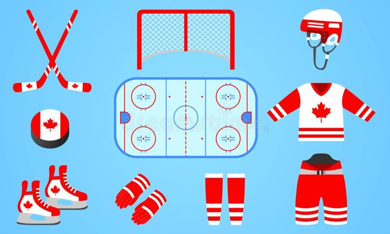 De Canadese inzameling van het ijshockeymateriaal Vector illustratie Geïsoleerde pictogrammen met de nationale vlag van Canada Wi vector illustratie
