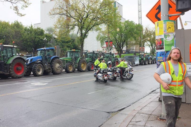 De Canadese Melkveehouders protesteren stock afbeelding