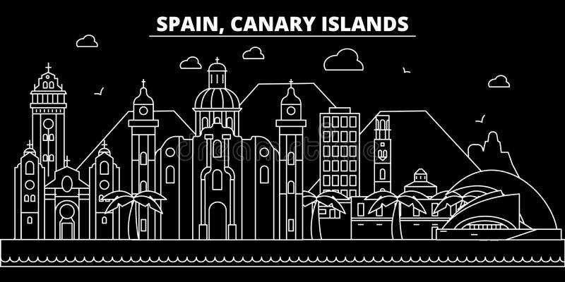De Canarische horizon van het Eilandensilhouet Spanje - Canarische Eilanden vectorstad, Spaanse lineaire architectuur Canarische  royalty-vrije illustratie