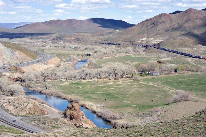 De Canion van de Rivier van Truckee stelt het oosten van Reno open stock foto's