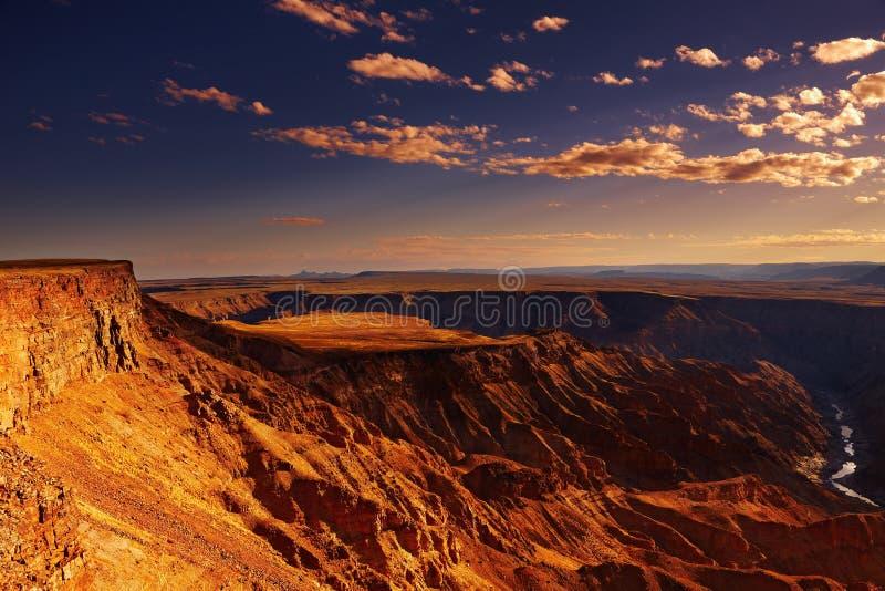 De canion van de Rivier van vissen, Namibië stock foto's