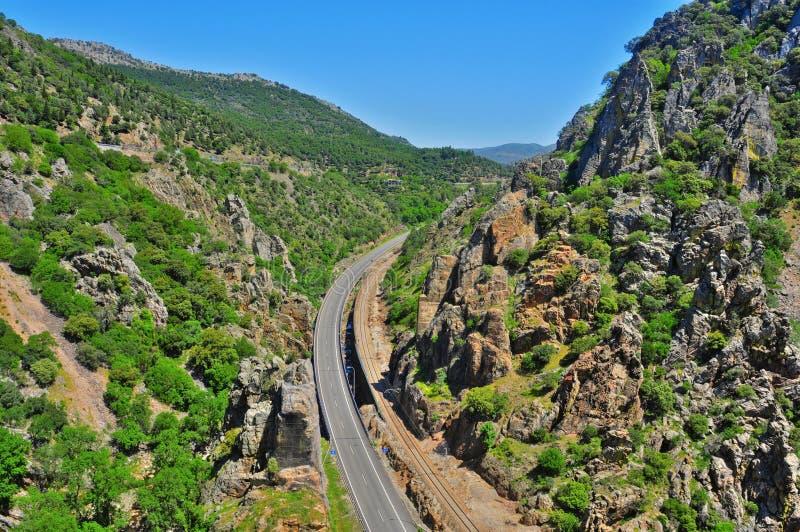 De canion van Despenaperros, Spanje stock afbeelding
