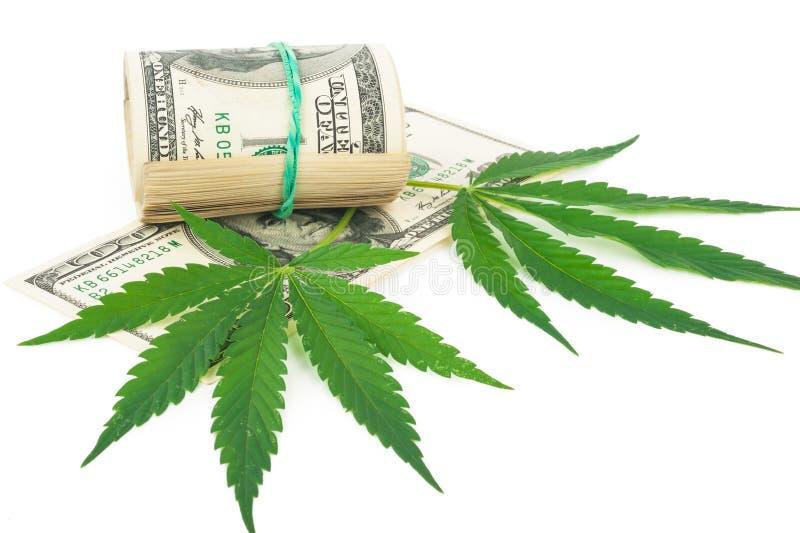De cannabis en het geld stock afbeeldingen
