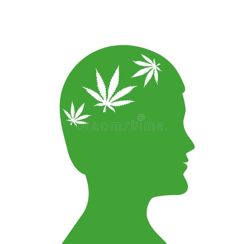 De cannabisbladeren bemant binnen groen hoofdsilhouet royalty-vrije illustratie