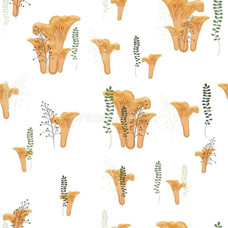 De cantharellen schiet de herfst naadloos patroon met bos wilde paddestoelen, varen en kruiden als paddestoelen uit de grond vector illustratie
