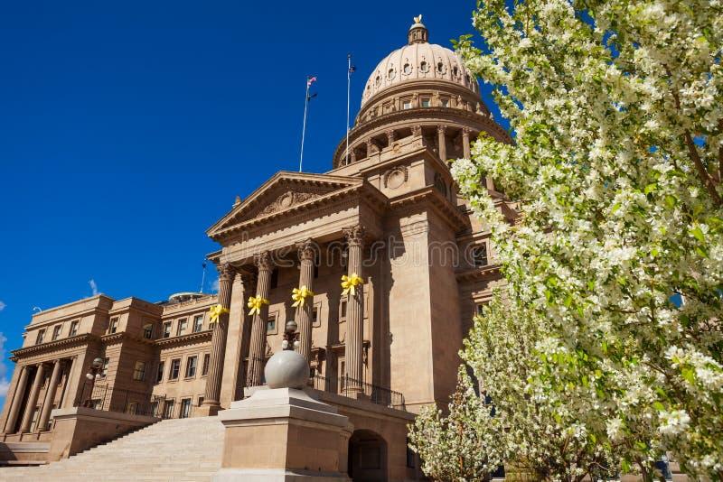De Capitoolbouw in Boise en bloeiende bloemen royalty-vrije stock afbeeldingen