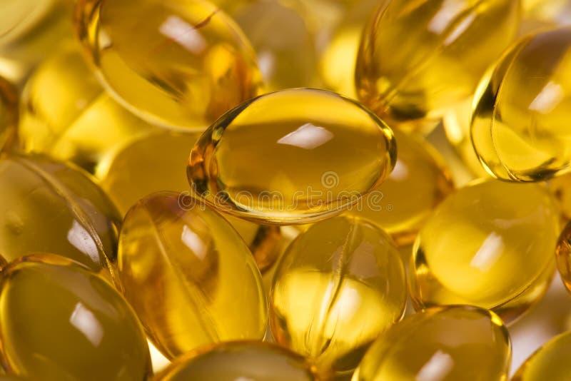 De Capsules van de Olie van de Lever van de kabeljauw stock foto's