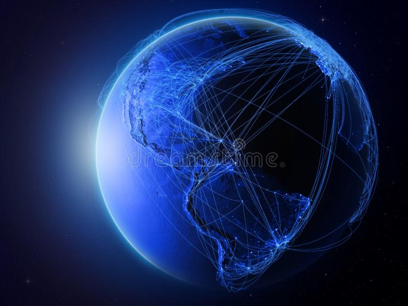 De Caraïben op blauwe Aarde met netwerk royalty-vrije illustratie