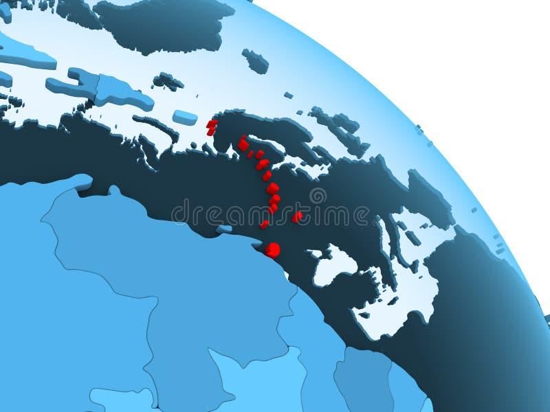 De Caraïben op blauwe bol vector illustratie