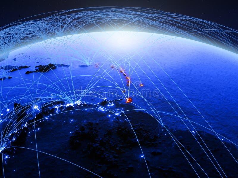 De Caraïben op blauwe digitale aarde met internationaal netwerk die mededeling, reis en verbindingen vertegenwoordigen 3d stock afbeelding