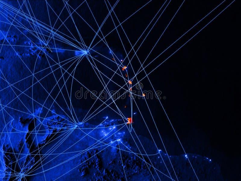 De Caraïben op blauwe digitale kaart met netwerken Concept internationale reis, mededeling en technologie 3D Illustratie vector illustratie