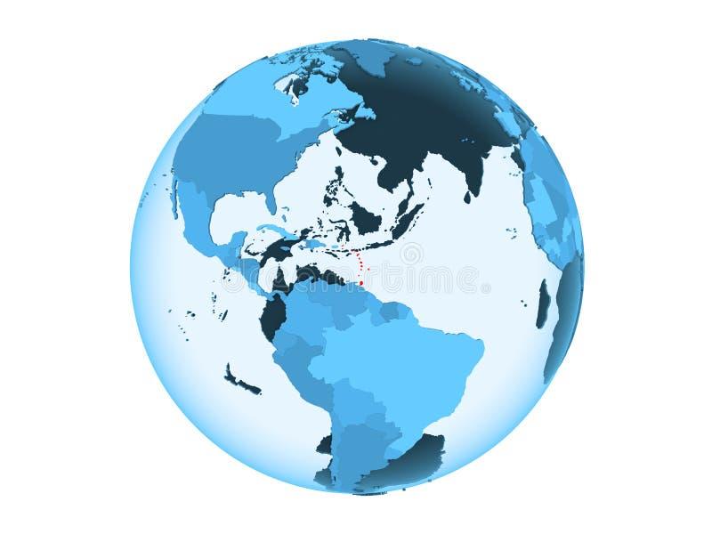 De Caraïben op blauwe geïsoleerde bol stock illustratie