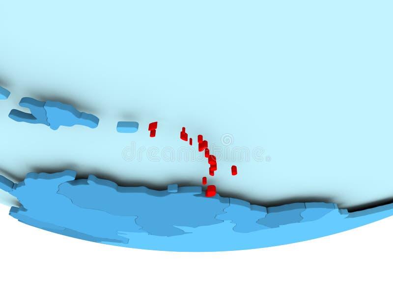 De Caraïben in rood op blauwe kaart stock illustratie