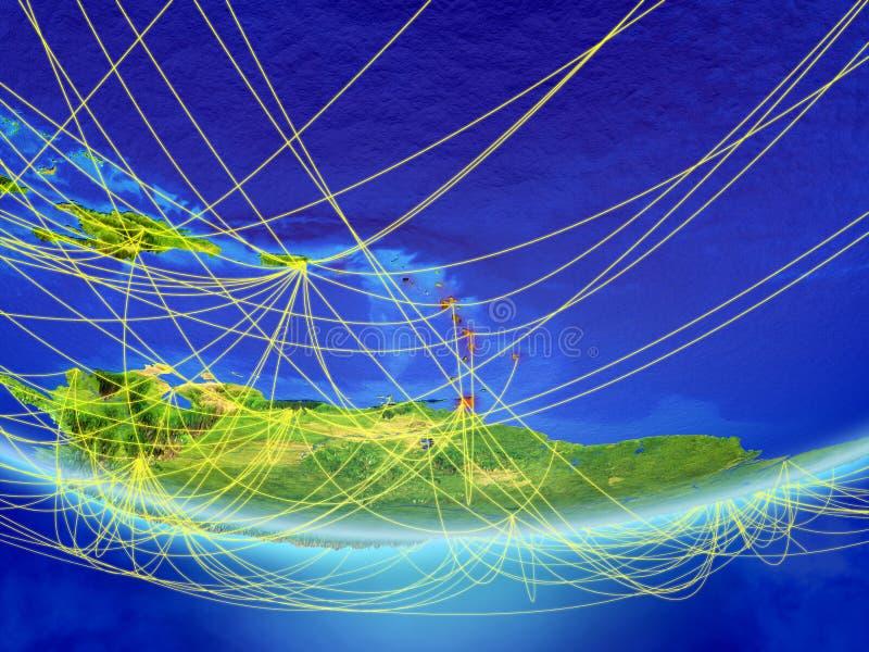 De Caraïben ter wereld met netwerk royalty-vrije illustratie