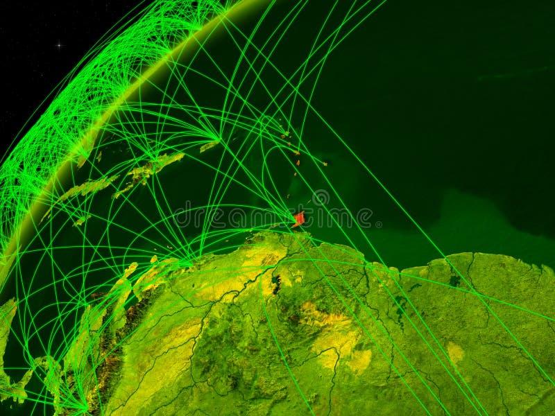 De Caraïben ter wereld met netwerk stock illustratie