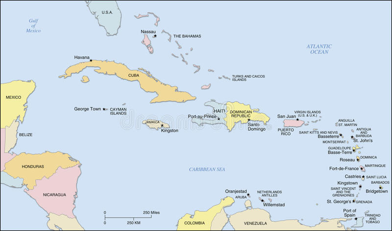 De Caraïbische Kaart van Eilanden royalty-vrije illustratie