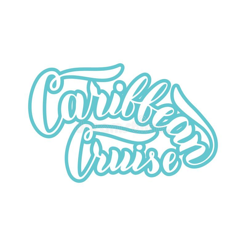 De Caraïbische tekst van de cruisetypografie Modern van letters voorziend embleem in blauw Het reisbureaumalplaatje van cruisevoe royalty-vrije illustratie