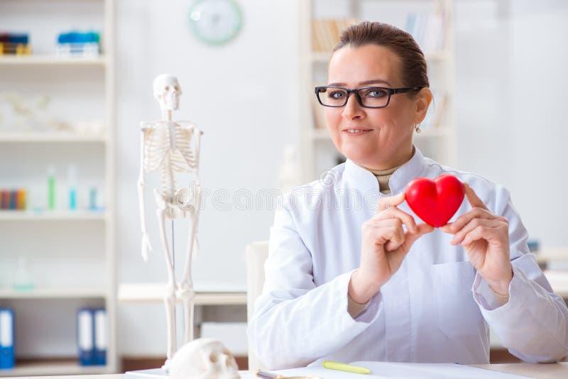 De cardioloog met rood hart in medisch concept royalty-vrije stock afbeelding