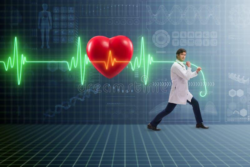 De cardioloog in telegeneeskundeconcept met hart sloeg stock afbeeldingen