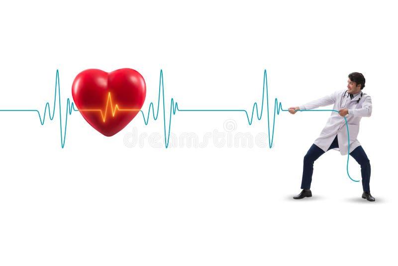 De cardioloog in telegeneeskundeconcept met hart sloeg royalty-vrije stock afbeeldingen